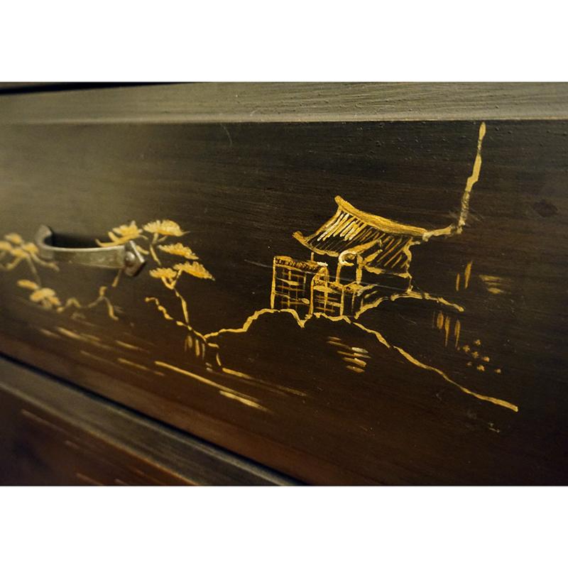 Commode 3 tiroirs motif japonais