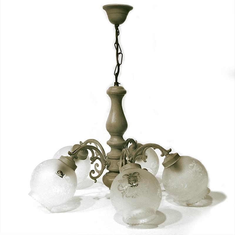 Lustre 5 branches avec globe de verre relooké par La Fée Caséine