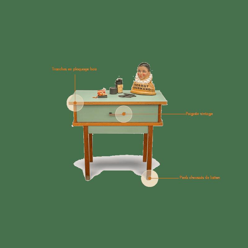 table chevet années 50 détails