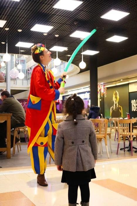 Sculpture sur ballons, centre commercial, enfants, activité, événement, Clown