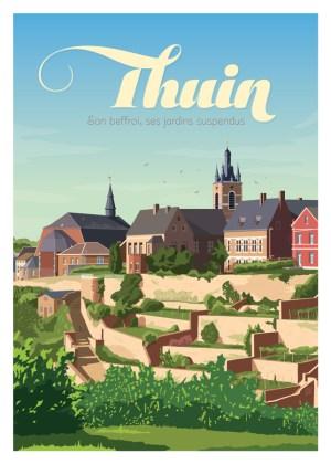 Affiche Belgique Thuin - Son beffroi et ses jardins suspendus