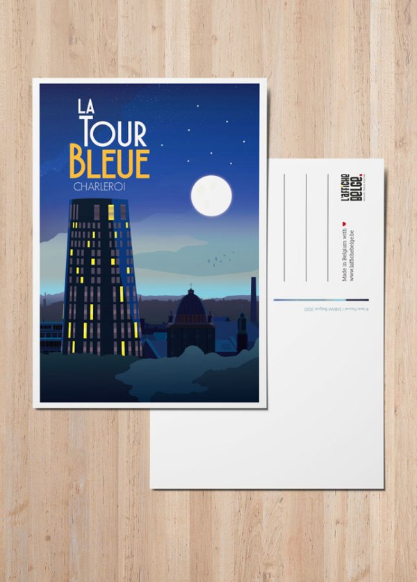 Carte Postale Belgique Charleroi tour de police bleue