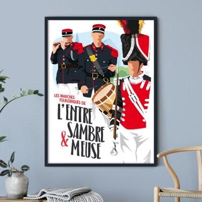 Affiche - Les Marches Folkloriques de l'Entre-Sambre-et-Meuse