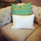 Retro style sofa with cushions