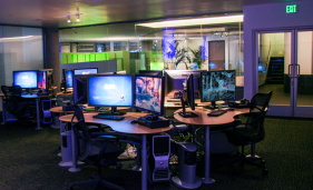 In addition to pinball machines and freestanding arcade games, this lab is home to multiple stations where students can learn the art of game production. Stations are equipped with Alienware Aurora ALX computers, dual 30-inch displays, Microsoft Xbox 360 consoles, and Nintendo Wii consoles, allowing the students to create, port, and test their work all in one station using a variety of industry-standard software.