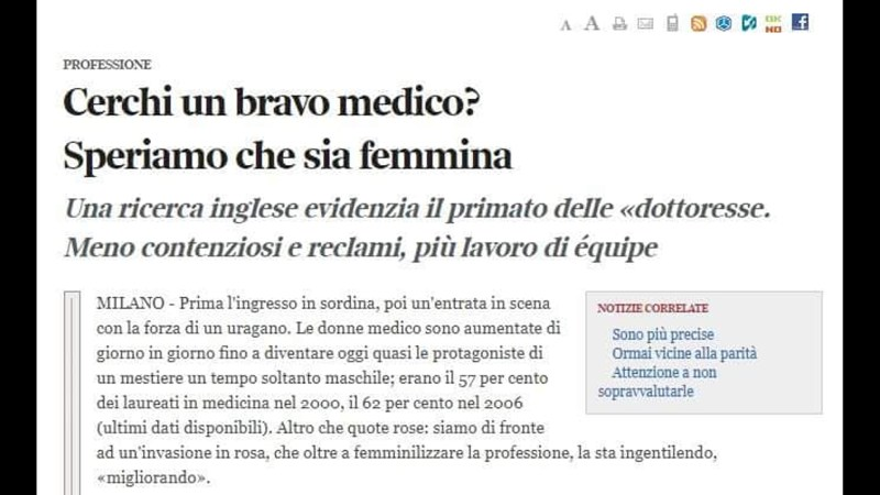 I bravi medici sono solo di sesso femminile.