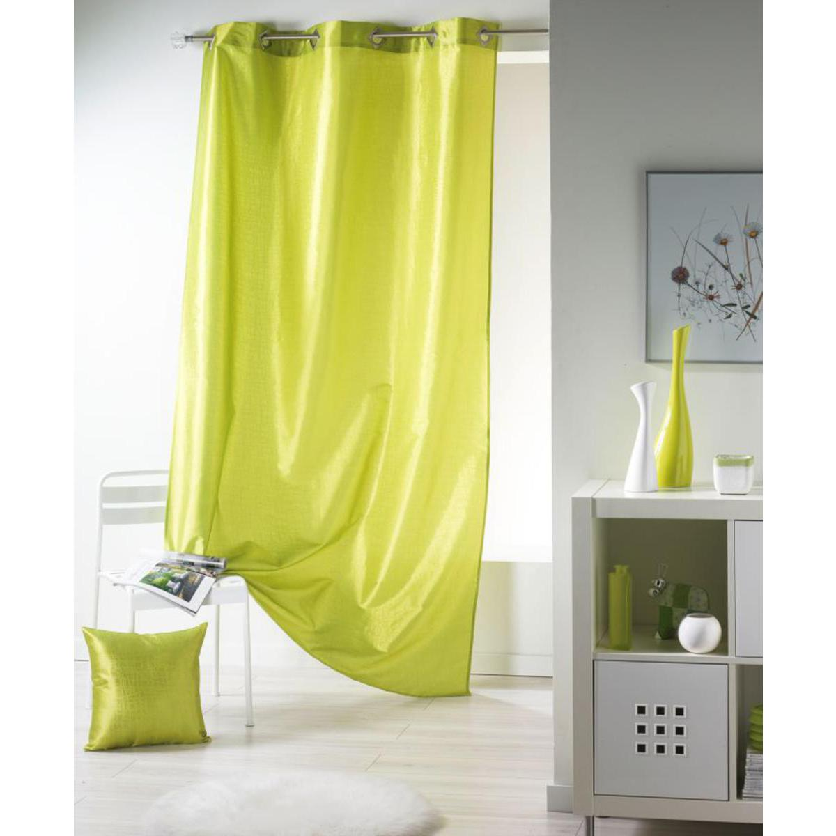 voilage laos en polyester vert anis