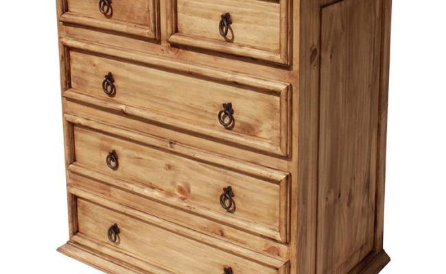Rustic Pine Collection Short 5 Drawer Dresser Com326