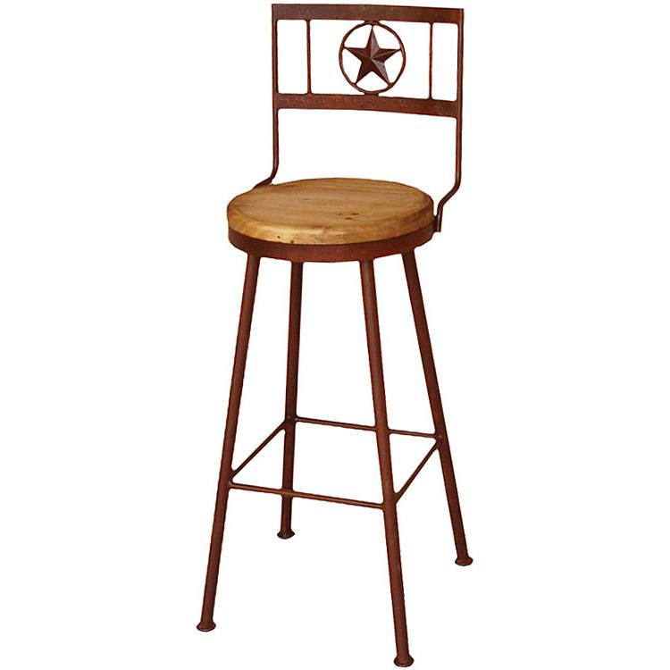 tall swivel chair stretch covers uk rustic pine collection iron star bar stoolw seat ban820 stool w