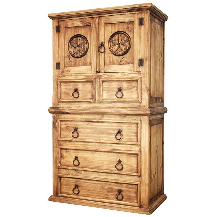 Rustic Pine Collection  Tall Tonala Star Dresser  COM527
