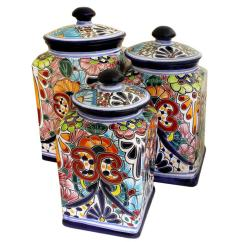 Canisters Kitchen Cost Of Marble Countertops Talavera Collection Canister Tgj085