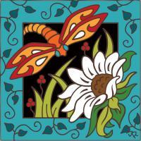Decorative Tile Collection - Floral Ceramic Tile - HDT275