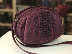 ria handmade cross body in burgundy and black