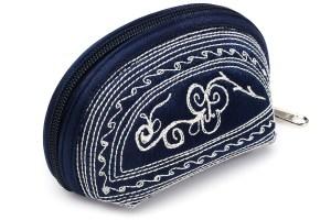 tari handmade coin purse in dark blue and cream embroidery by Laga