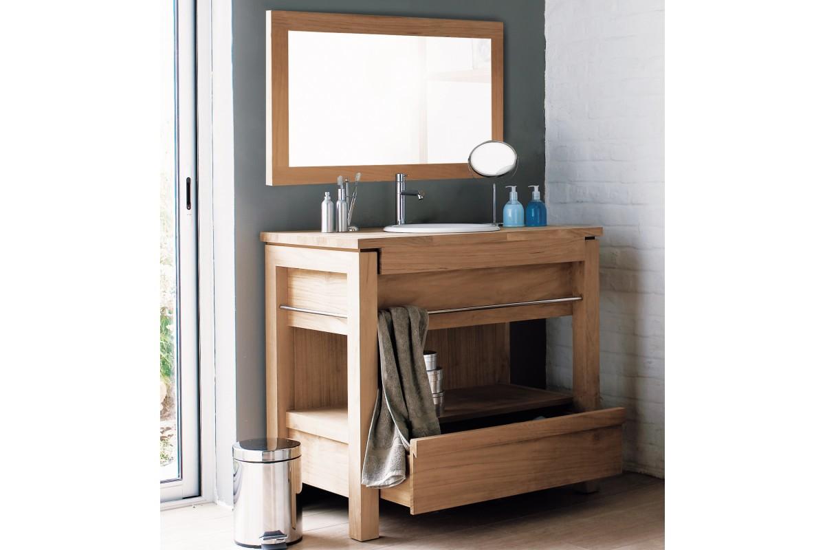 Meuble de salle de bains en teck pour vasque  encastrer 1 tiroir  La Galerie du Teck
