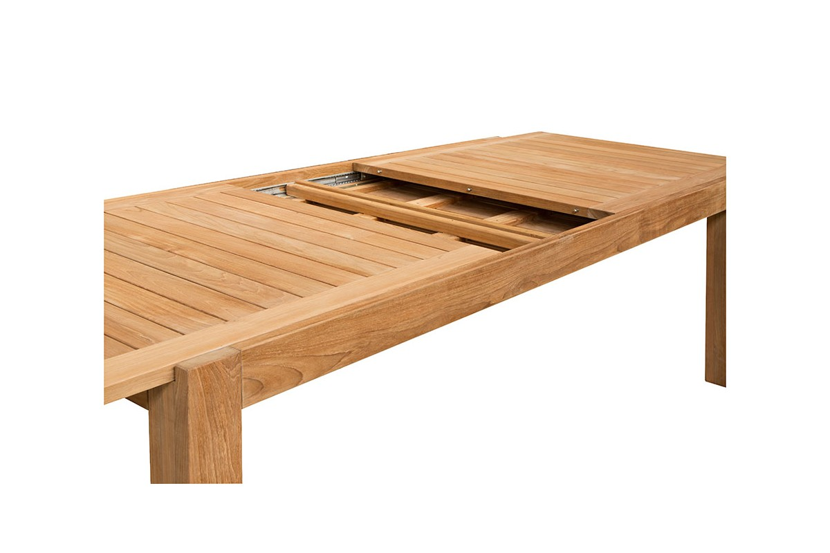 Table de jardin de grande taille en teck massif 220340 cm rallonge