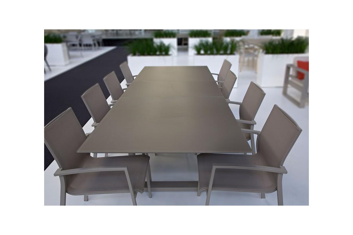 Table en verre et aluminium avec rallonge 220290 cm ROMA  La Galerie du Teck