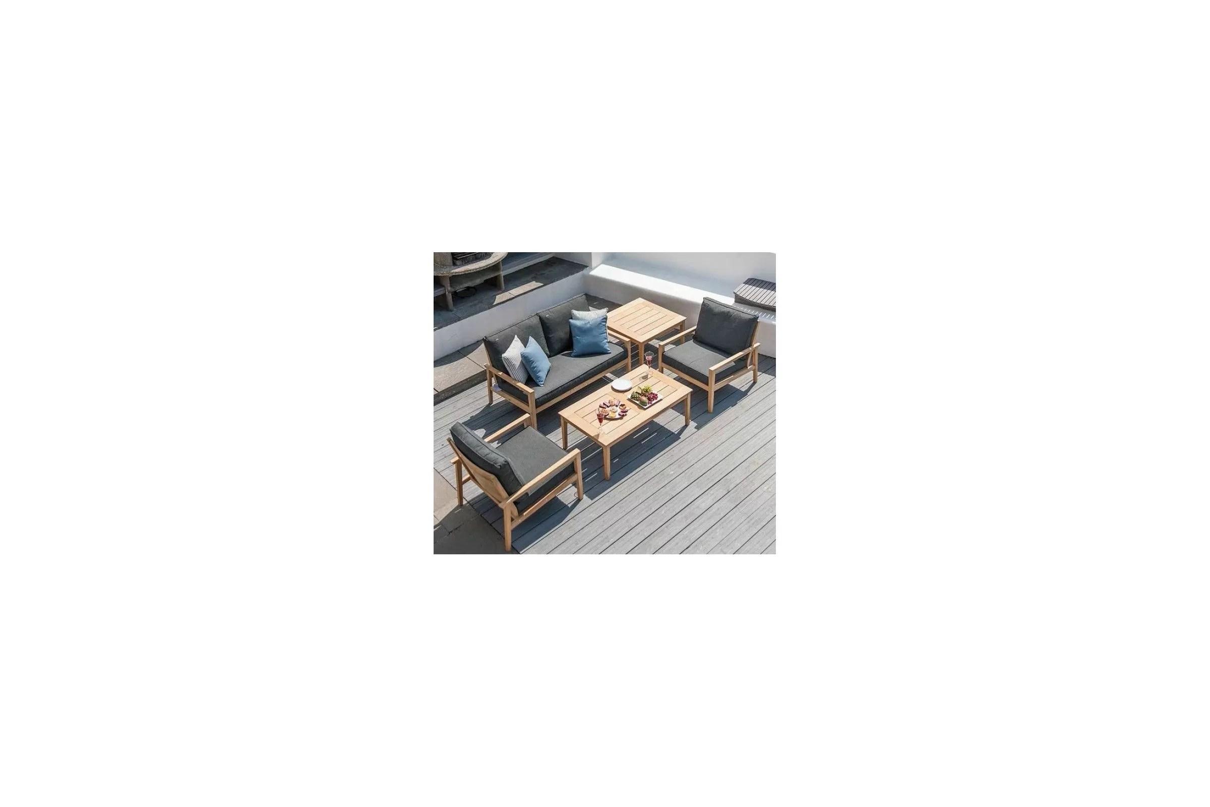 Table basse en bois pour salon de jardin 120 cm haut de gamme  La Galerie du Teck