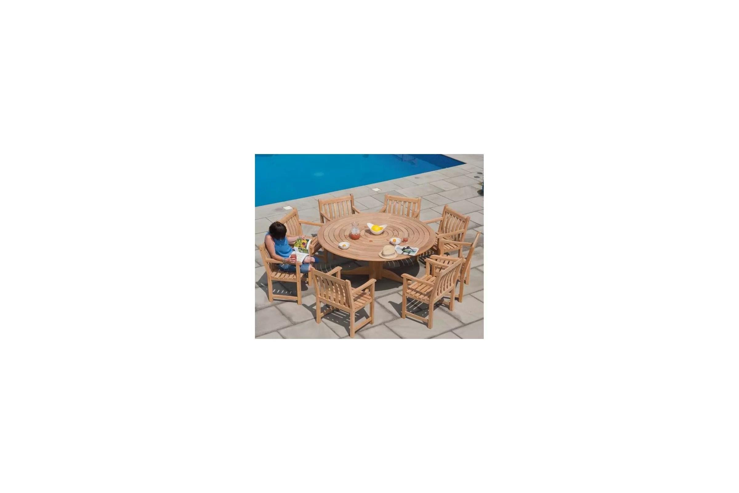 S Table De Jardin Ronde En Teck Table De Jardin Ronde En Bois D Cm Et Cm Haut De Gamme L