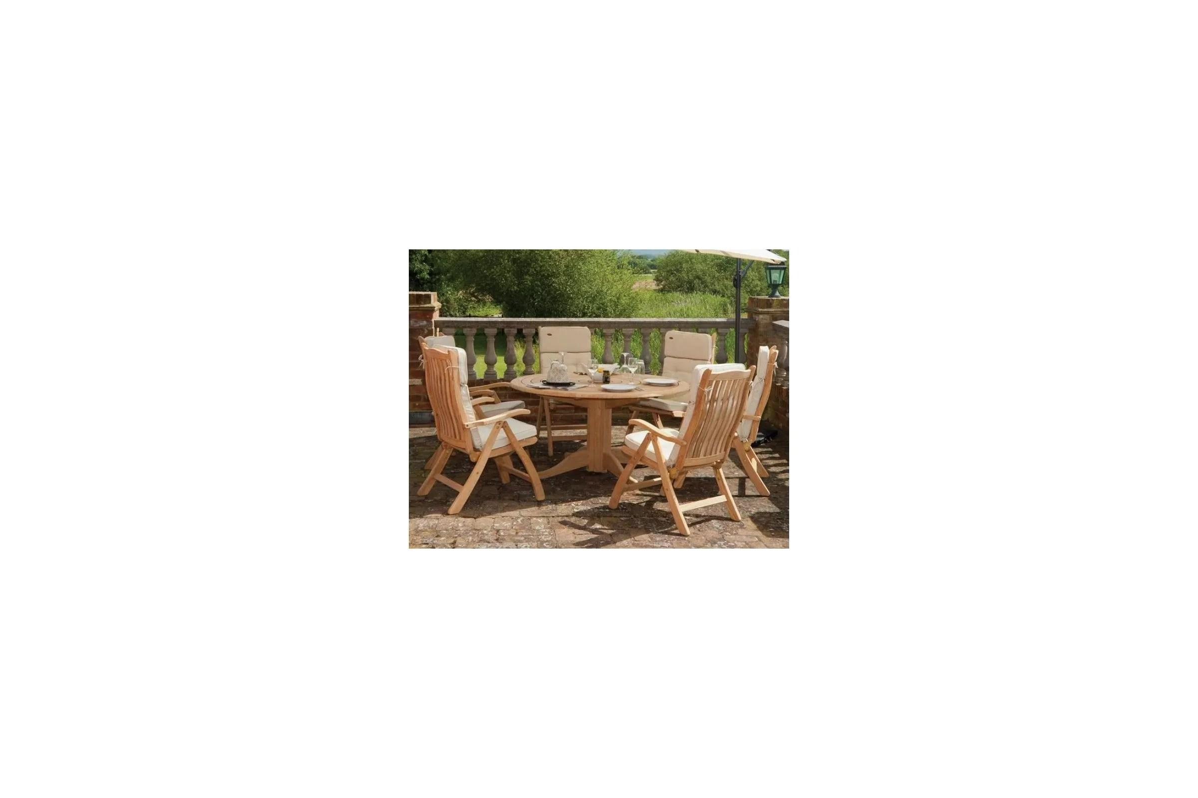 Table de jardin ronde en bois d 145 cm et 175 cm haut de gamme
