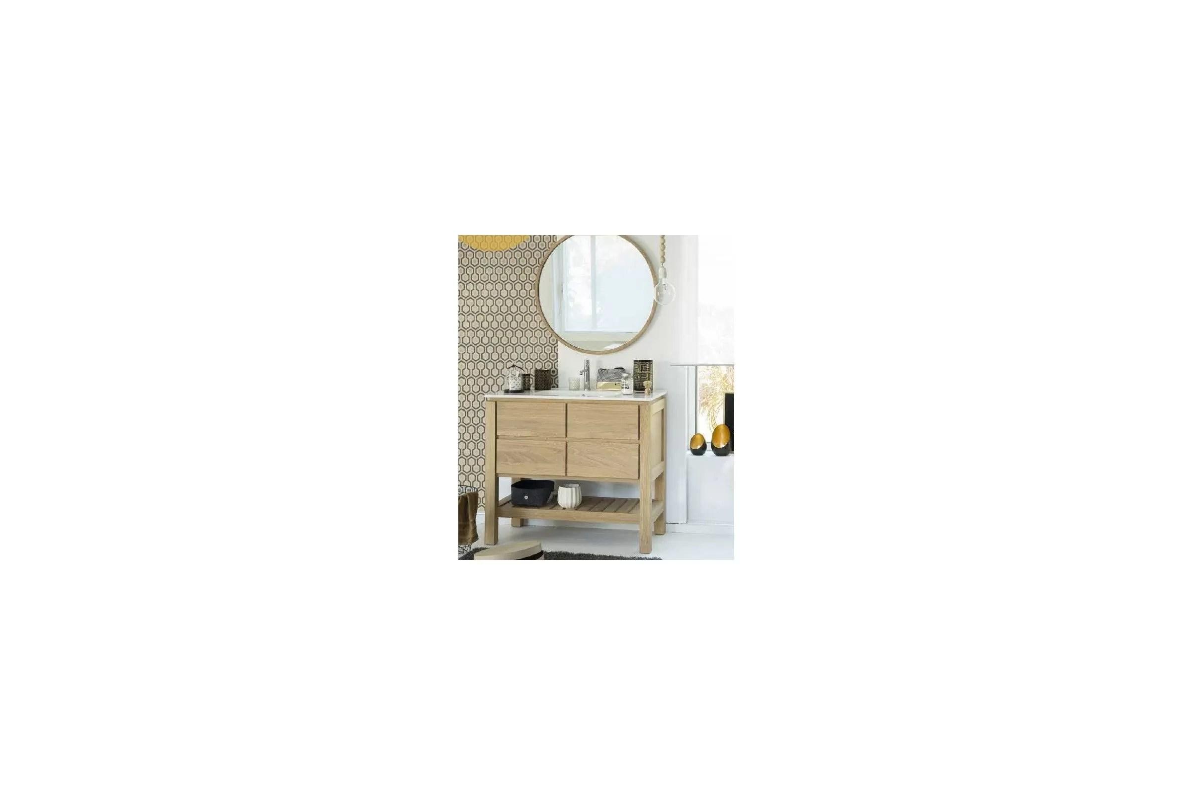 meuble en chene 80 100 cm avec un plan vasque 2 tiroirs et 1 etagere easy