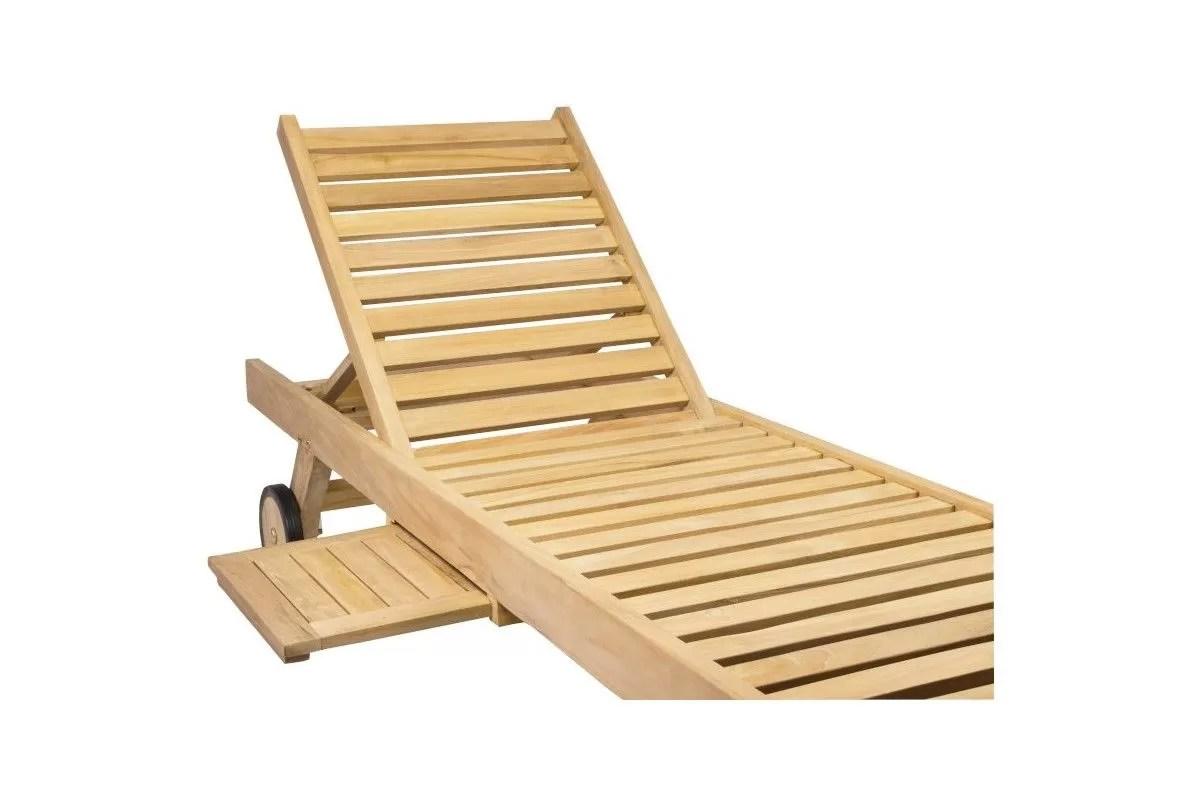lit bain de soleil en teck avec roulettes et plateau oxford