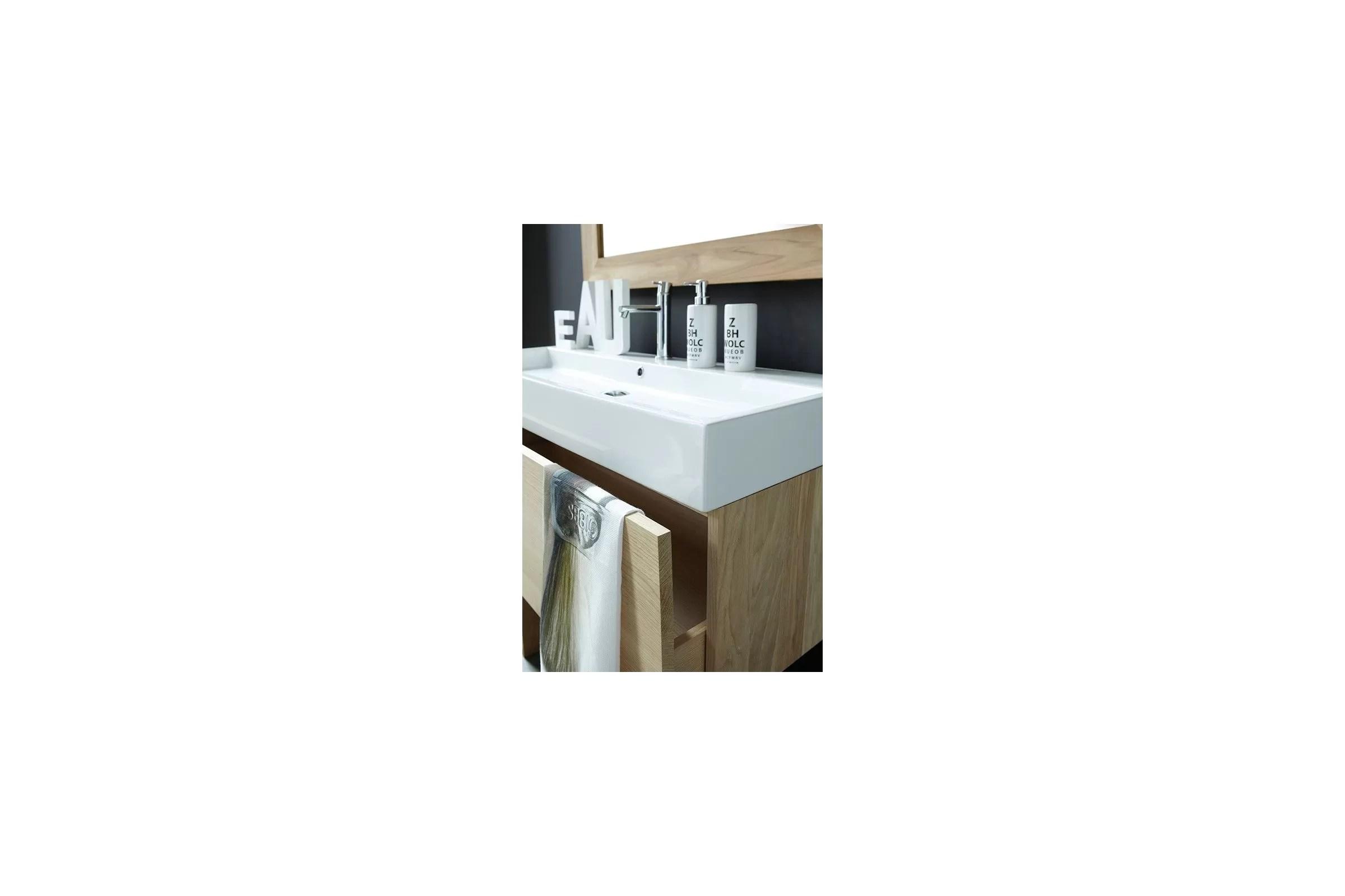 Meuble Suspendu En Teck Et Vasque Ceramique Integree 80 100 Cm