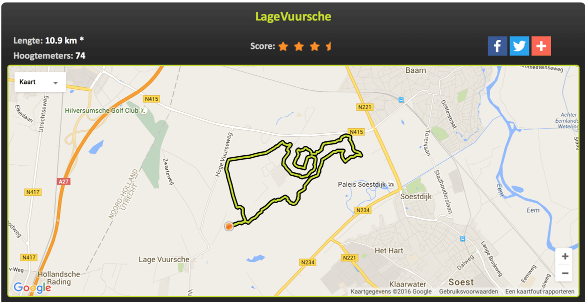 Mountainbike route Lage Vuursche