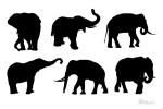 ゾウのシルエット素材