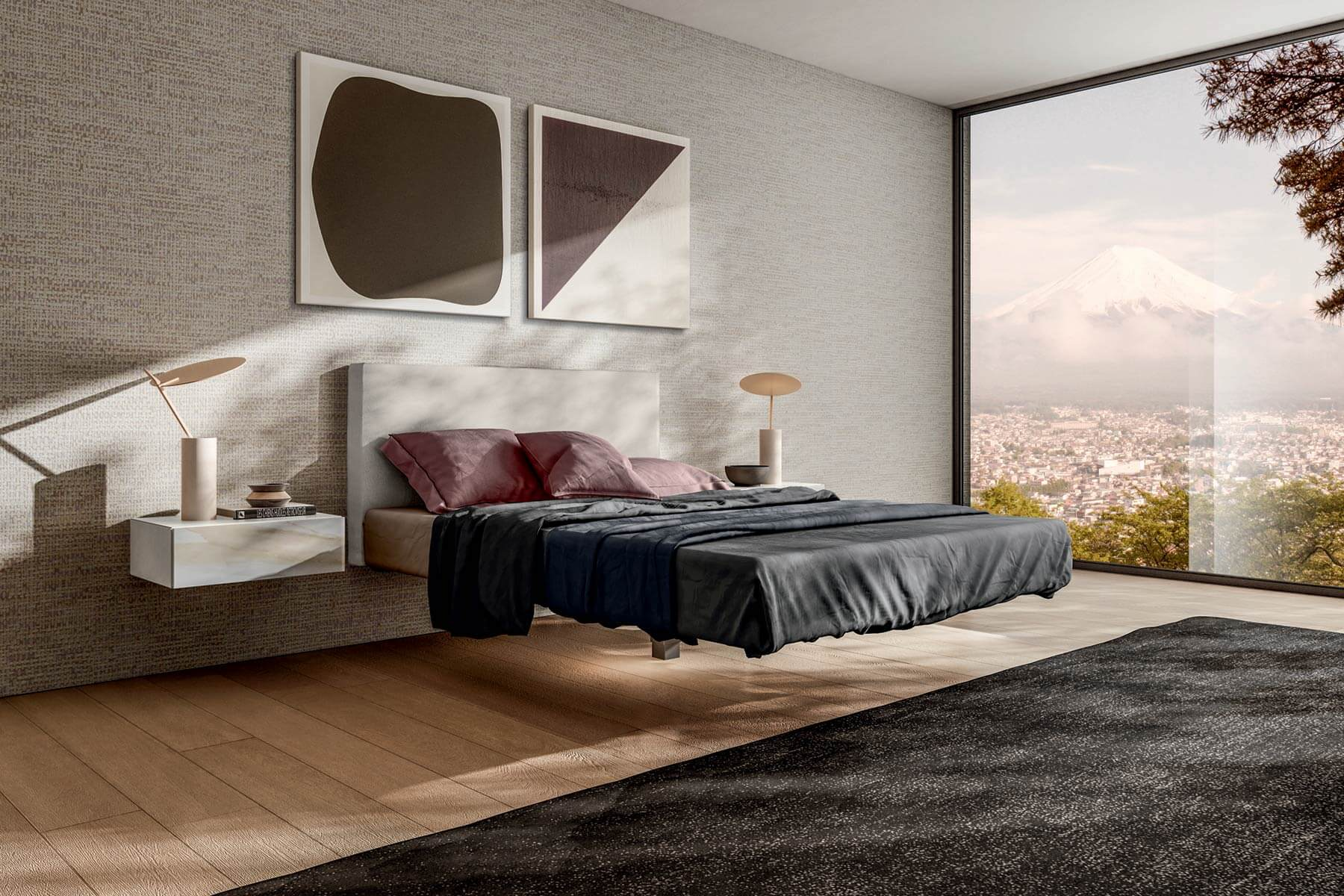 Flutta Bed A suspended bed for carefree dreams  LAGO Design