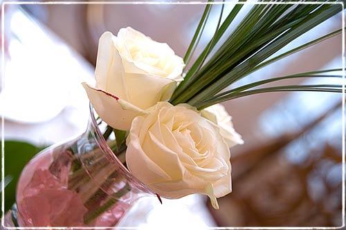 Centrotavola con rose al Castello di Miasino