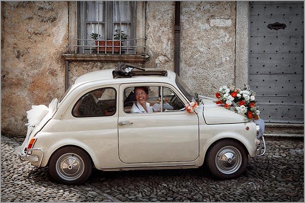 noleggio auto Fiat 500 matrimonio Orta