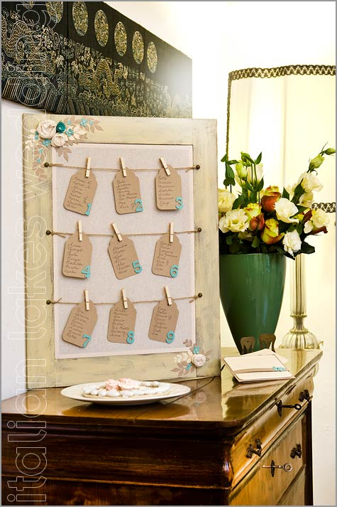 tableau de mariage in stile shabby chic