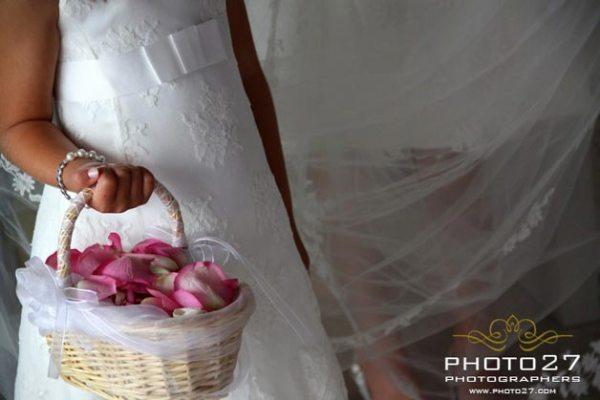 cestino di petali per damigella sposa