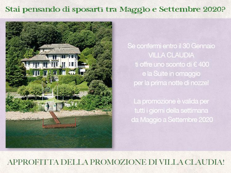 Promozione sposi di Villa Claudia: sconto 400 euro + suite in omaggio