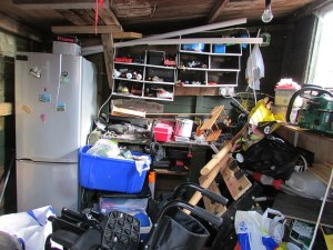 A basement full of junk.