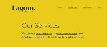 Screenshot of the homepage of the Lagom website