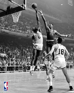 Bill Russell blocks Wilt Chamberlain's shot
