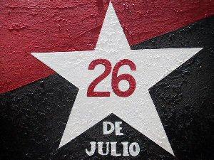 Pinta con el emblema del movimiento 26 de julio