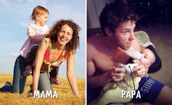 15 Diferencias entre padre y madre al cuidar a los hijos