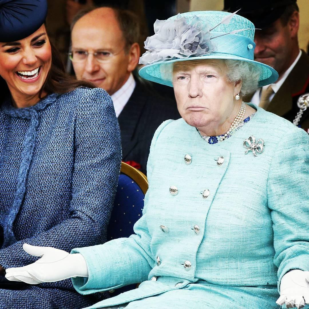Gracioso Photoshop de Donald Trump y la reina Isabel