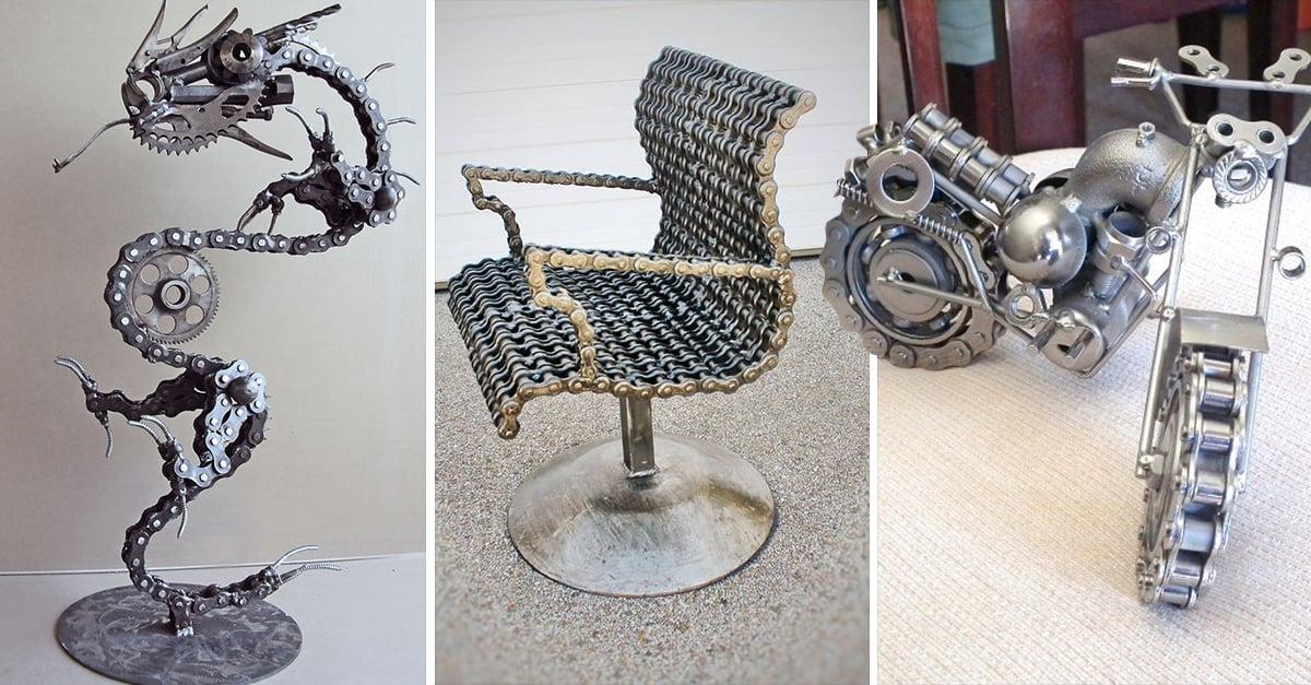 Arte con cadenas recicladas llevadas a otro nivel