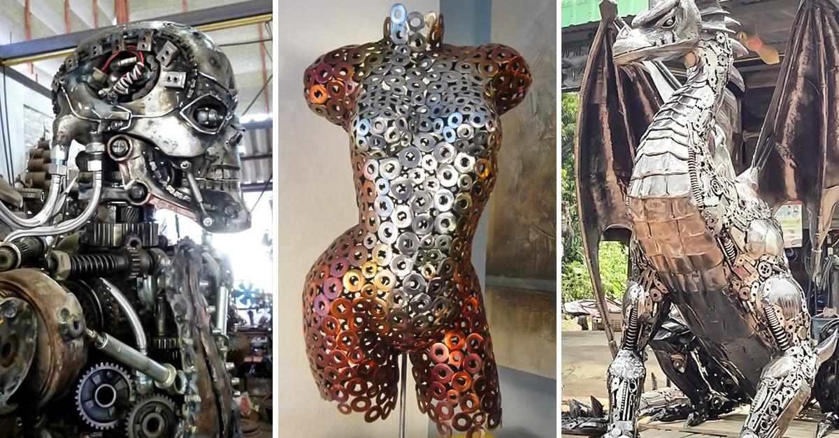 Herreros hacen arte con partes metlicas olvidadas