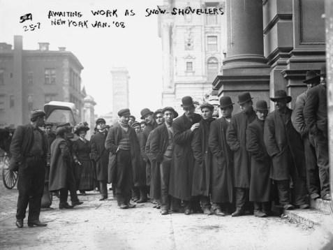 File de demandeurs d'emploi, New York, 1908