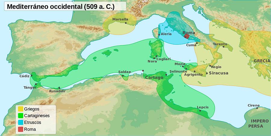 Áreas de influencia del Mediterráneo en el 509 a. C