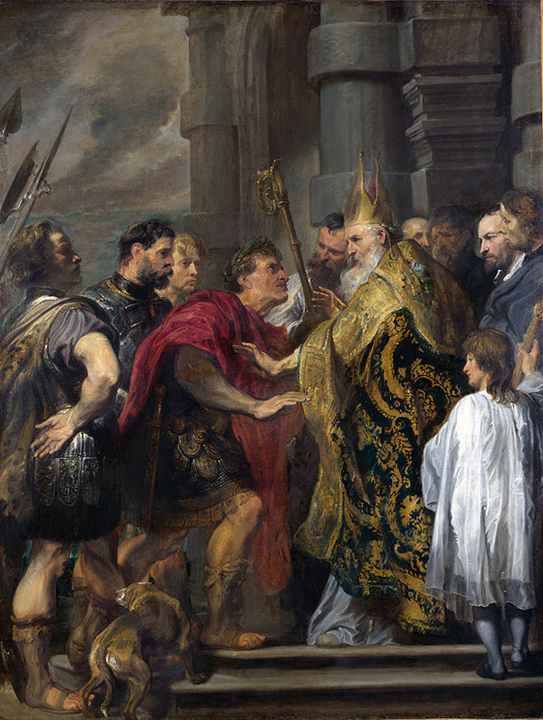 San Ambrosio y el emperador Teodosio (1619) de Anton van Dyck