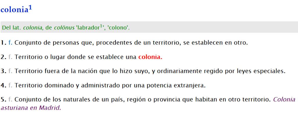 Estas son las principales acepciones de la palabra colonia según la RAE