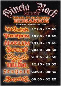 horarios gineta rock 2015