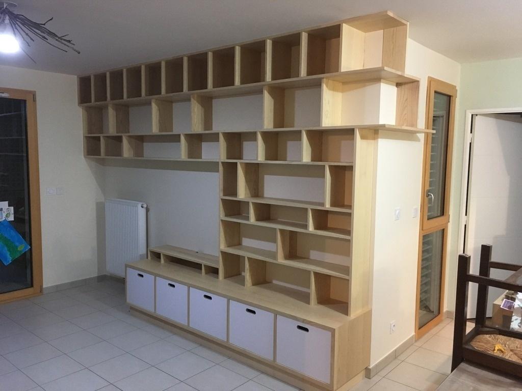 bibliotheque murale avec banc tv