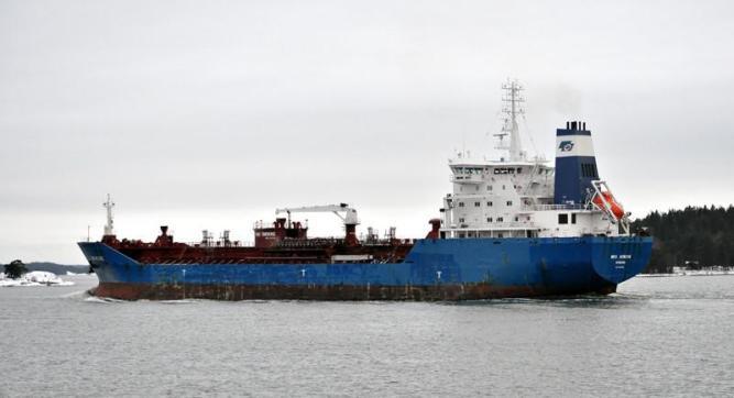 BRO NYBORG. Rakennettu 2007, Kiina. 144x23m. Jääluokka 1A. Syväys 8,9m. Maersk Tankers / Bröström, Tanska. Lippu: Tanska